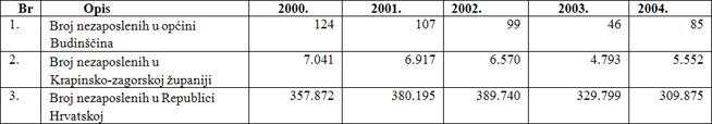 Pokazatelji nezaposlenosti u općini Budinščina za razdoblje od 2000. do 2004. godine